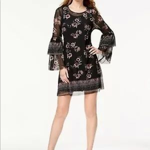 Style & Co Women's Printed Bell Sleeve Dress Boho
